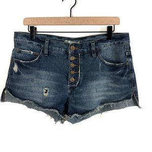 Free People Button Fly Cutoff Jean Shorts Sz 26